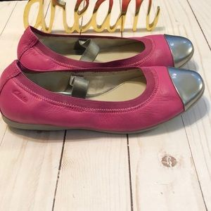 Clark's Pink Leather Ballet Flats silver Cap Toe